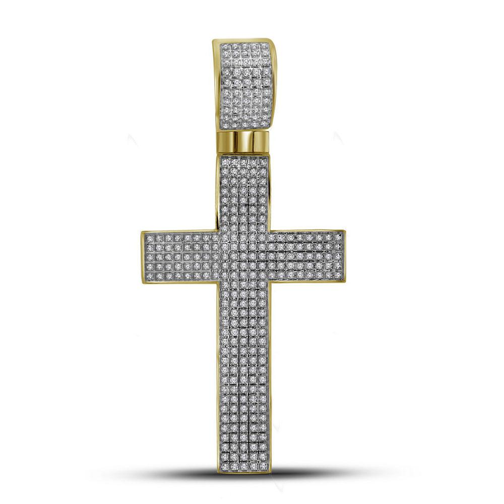 10K Yellow Gold Pendant Christian Cross 0.9ctw Diamond