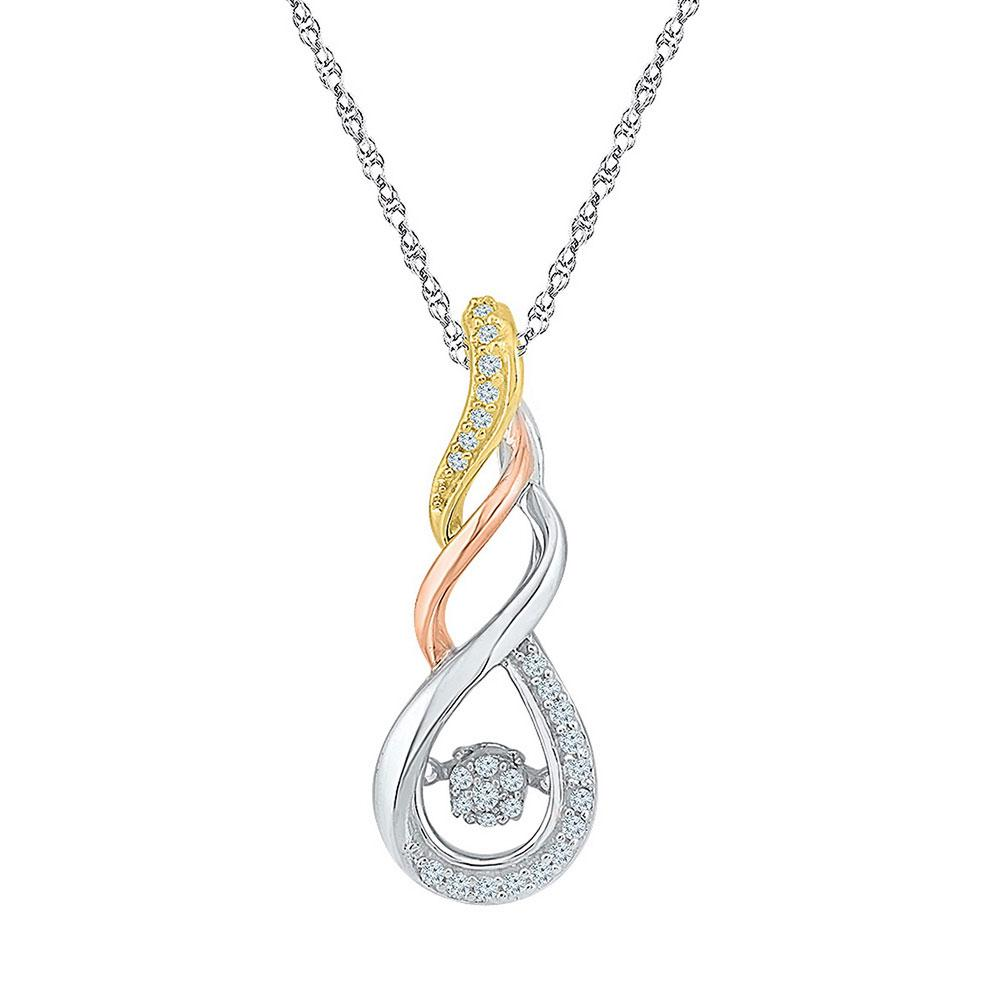 10K 3-tone Gold Pendant Moving Twinkle 0.12ctw Diamond