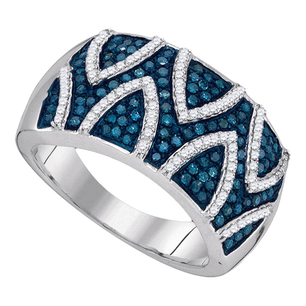 10K White Gold Ring Stripe 0.65ctw Colored Blue Diamond, Diamond,