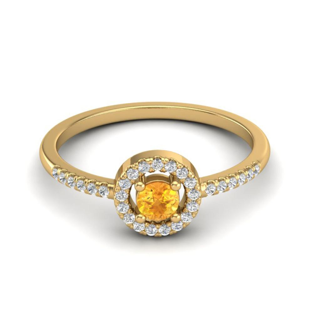 0.50 ctw Citrine & VS/SI Diamond Ring Halo 18K Yellow Gold