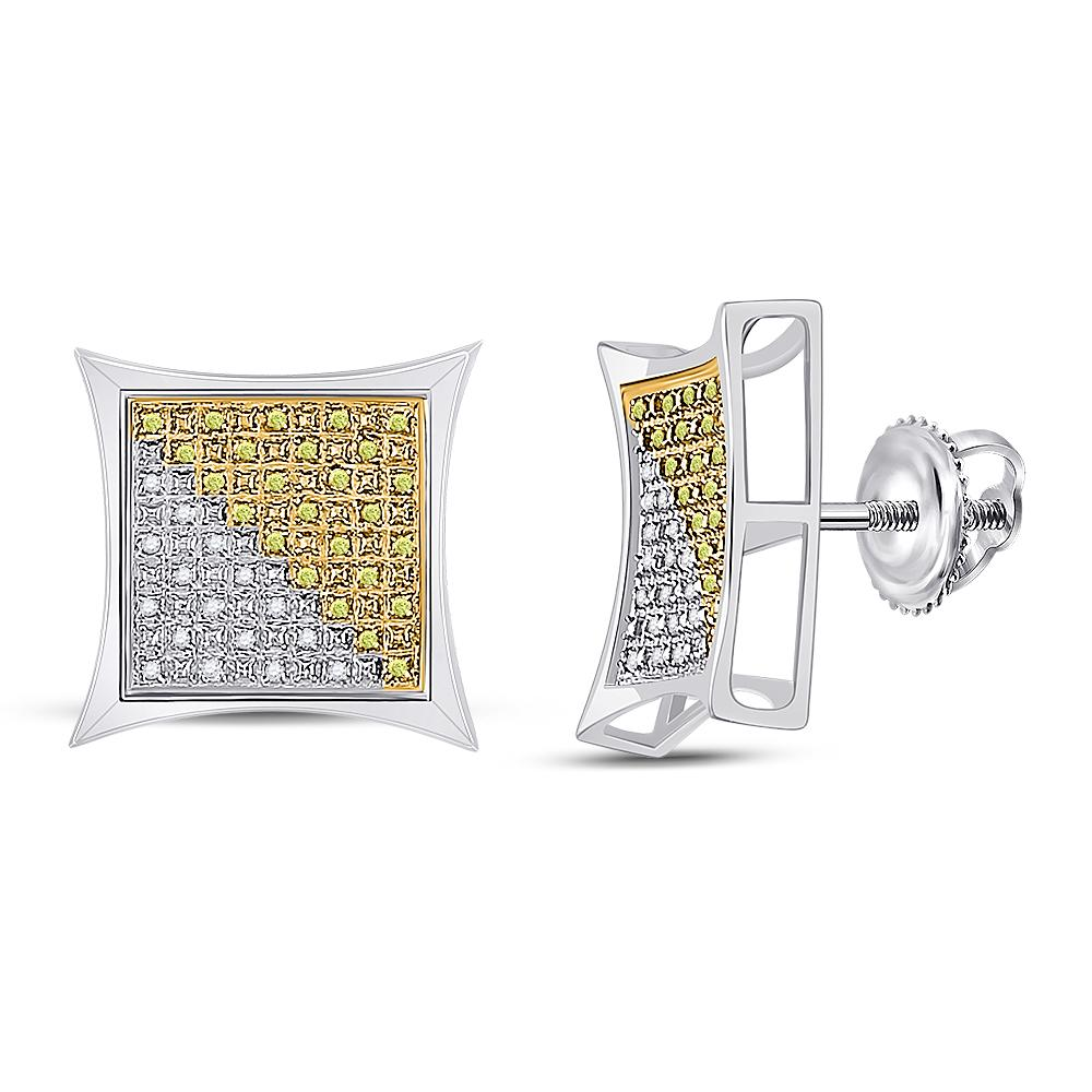 Sterling Silver Earrings Square 0.25ctw Colored Yellow Diamond, Diamond,
