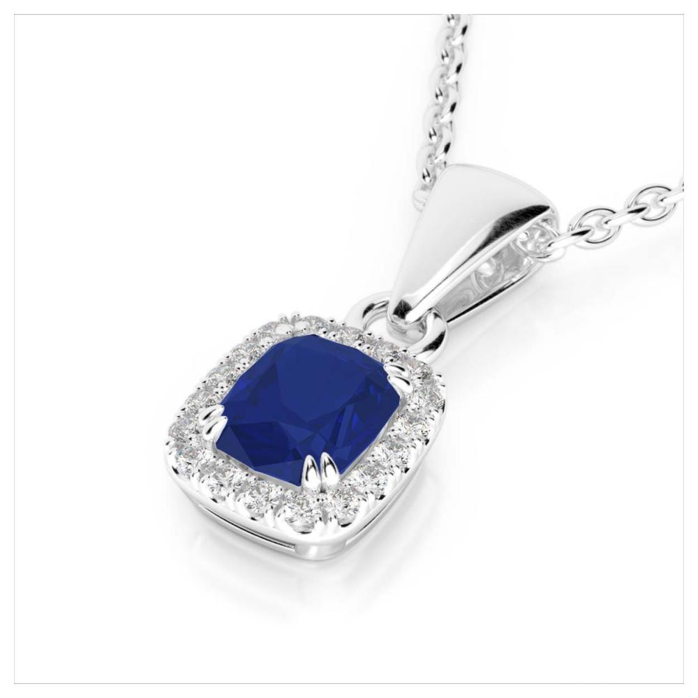 1.25 ctw Sapphire & VS/SI Diamond Necklace 10K White Gold