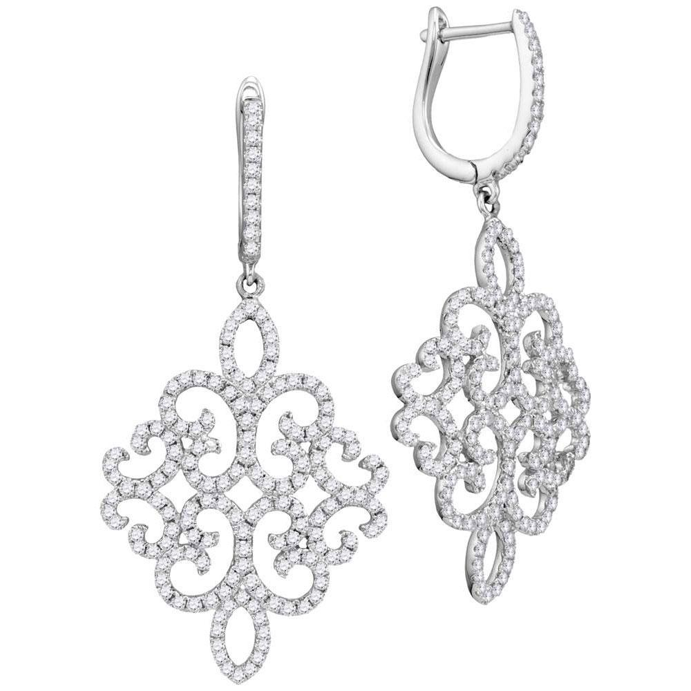18K White Gold Earrings 1.33ctw Diamond