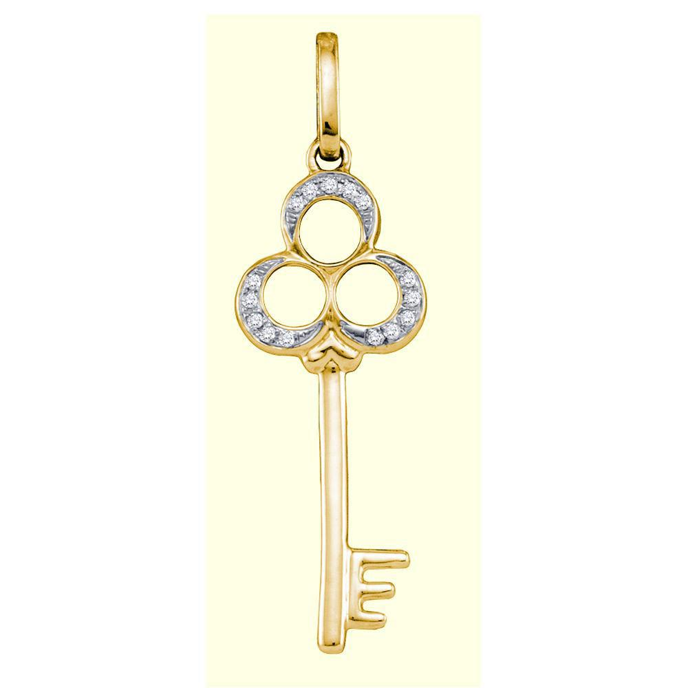 10K Yellow Gold Pendant Key 0.05ctw Diamond
