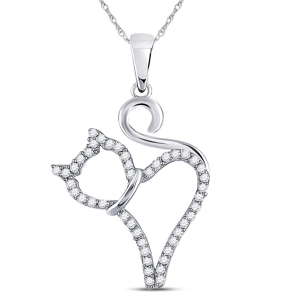 10K White Gold Pendant Kitty Cat 0.14ctw Diamond