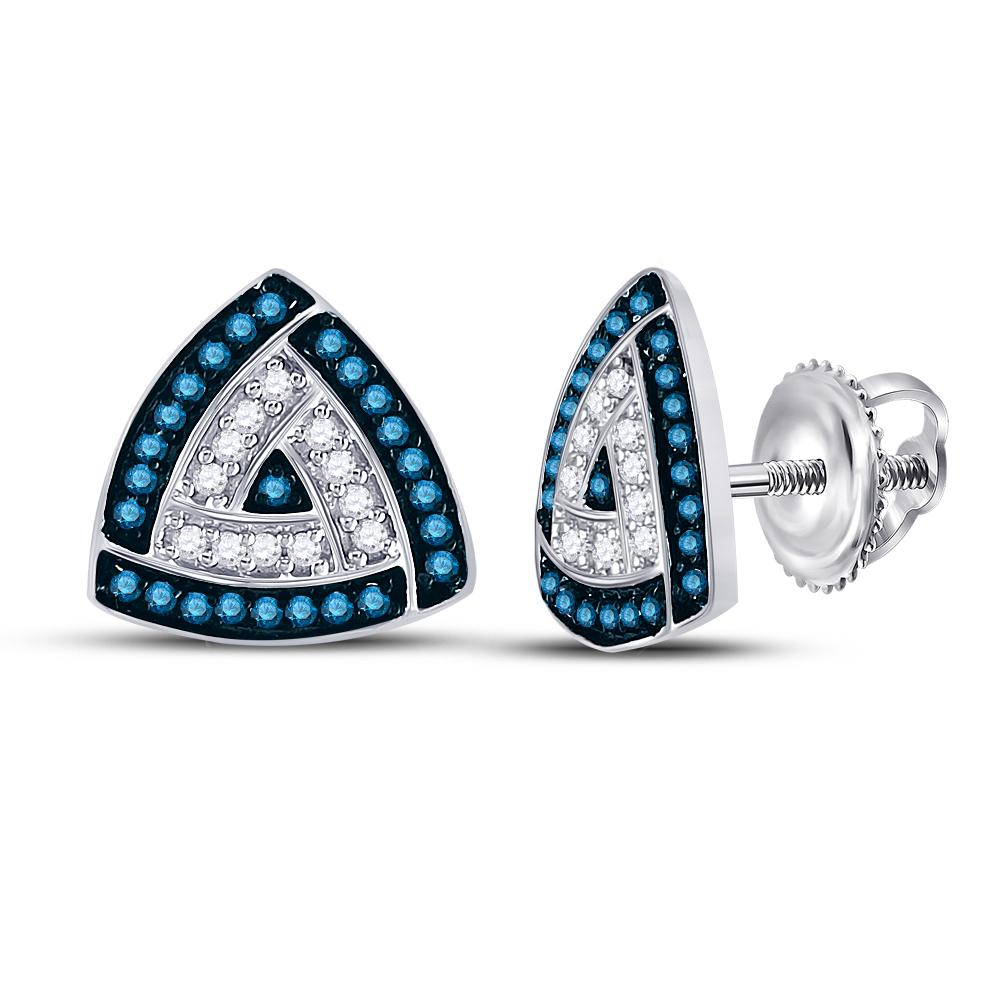 10K White Gold Earrings Triangle Frame Cluster 0.3ctw Colored Blue Diamond, Diamond,