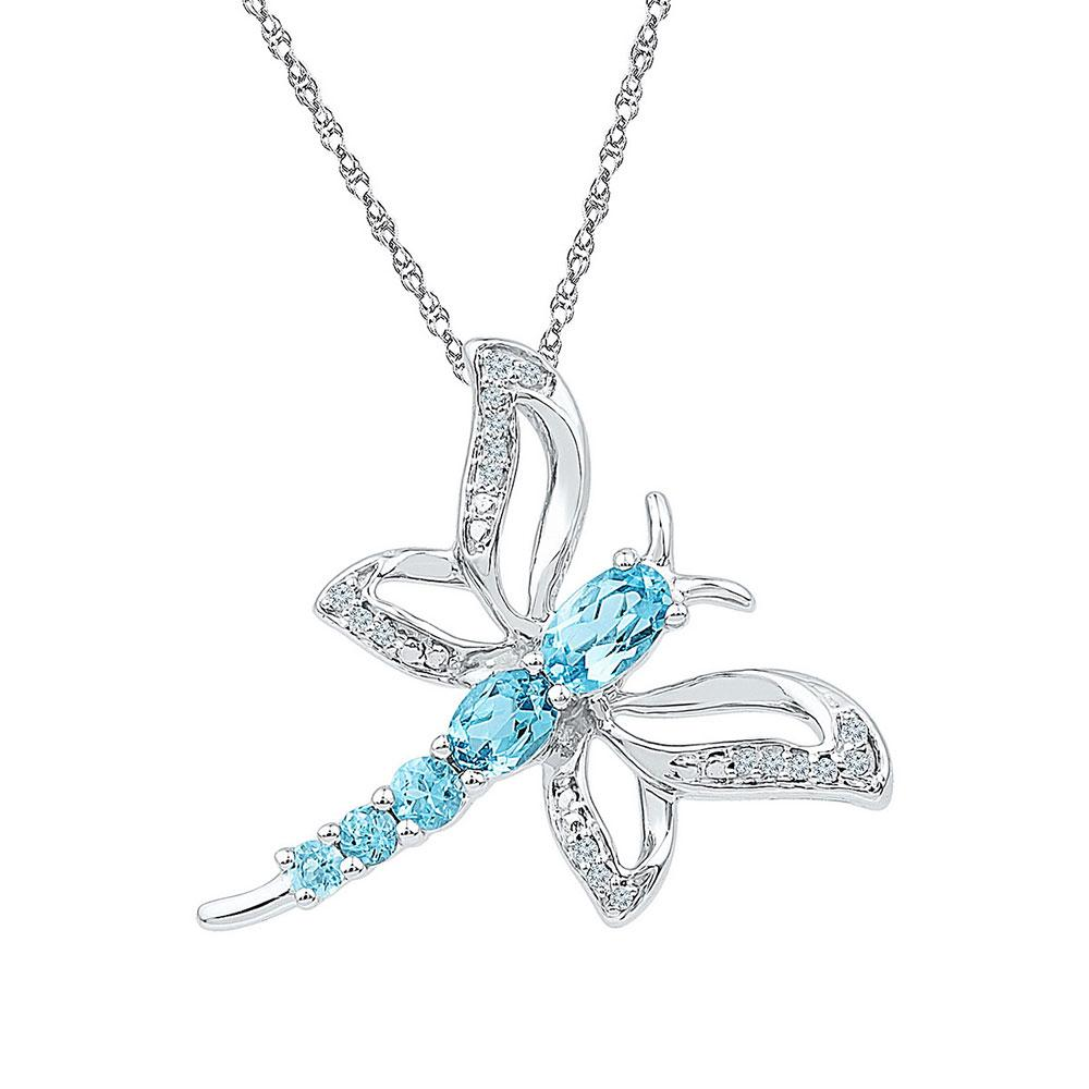 Sterling Silver Pendant 0.95ctw Lab Blue Topaz, Diamond,