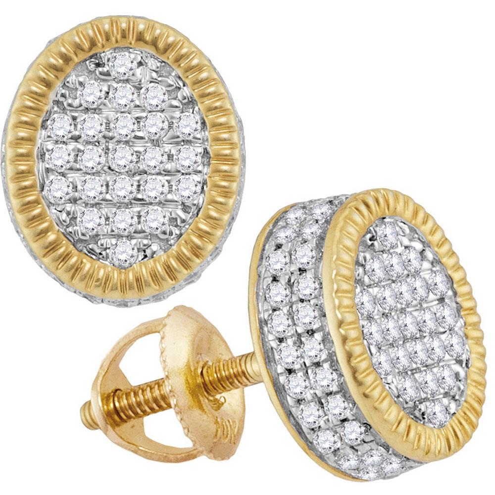 10K Yellow Gold Earrings Oval Cluster 0.7ctw Diamond