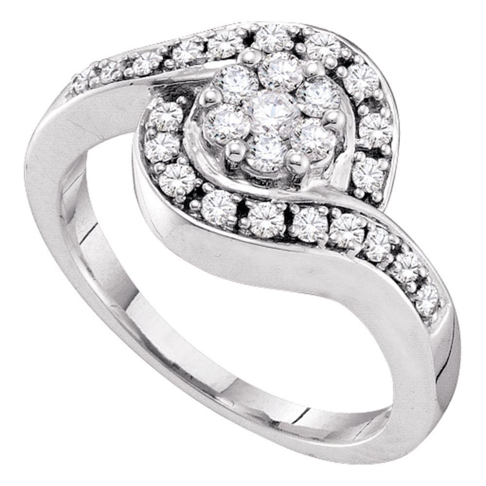 14K White Gold Ring Cluster 0.5ctw Diamond
