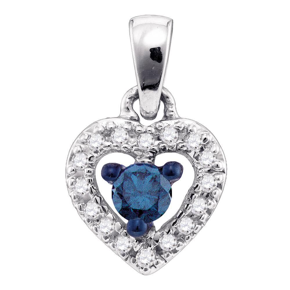 10K White Gold Pendant Heart 0.2ctw Colored Blue Diamond, Diamond,