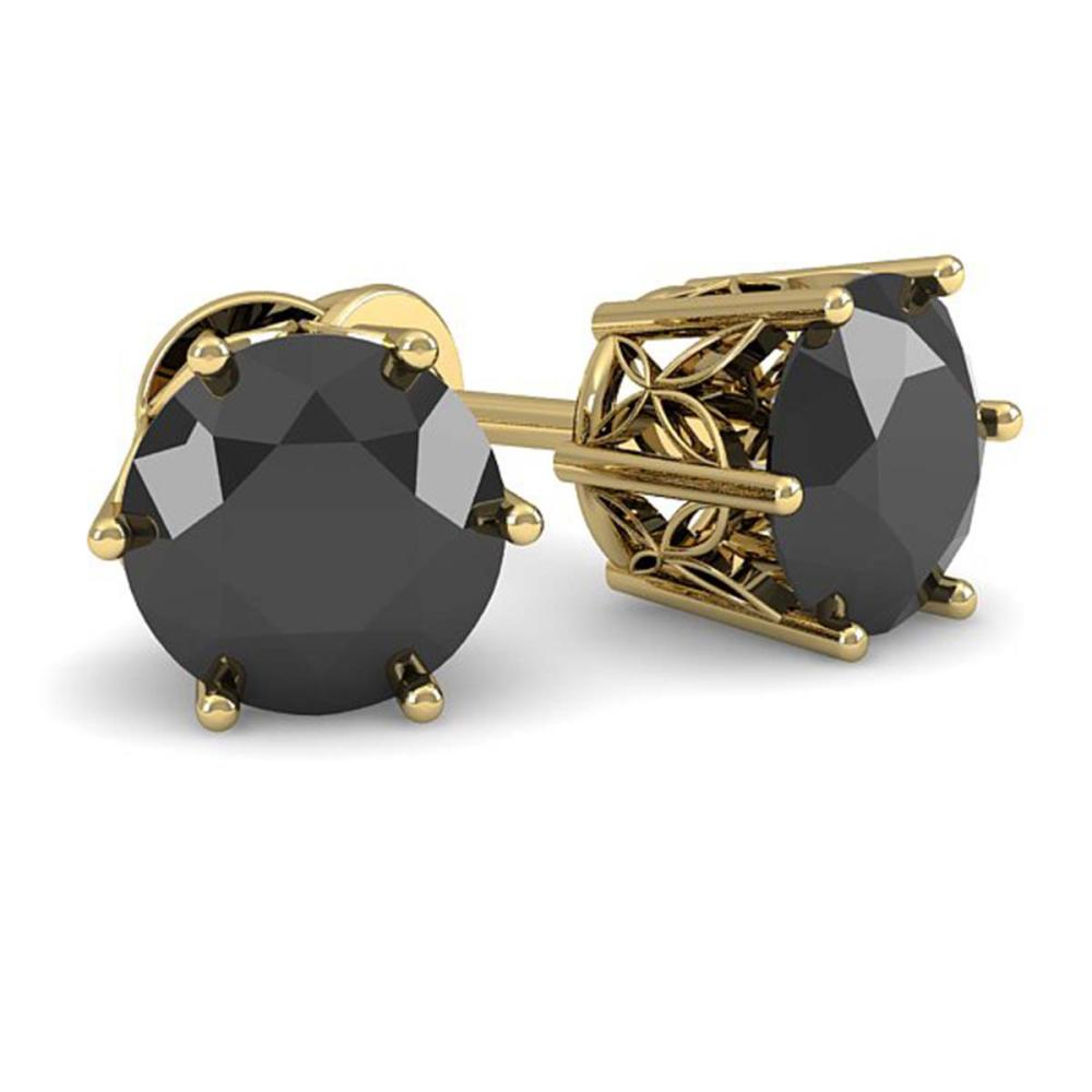 1.0 ctw Black Diamond Stud Art Deco Earrings 14K Yellow Gold
