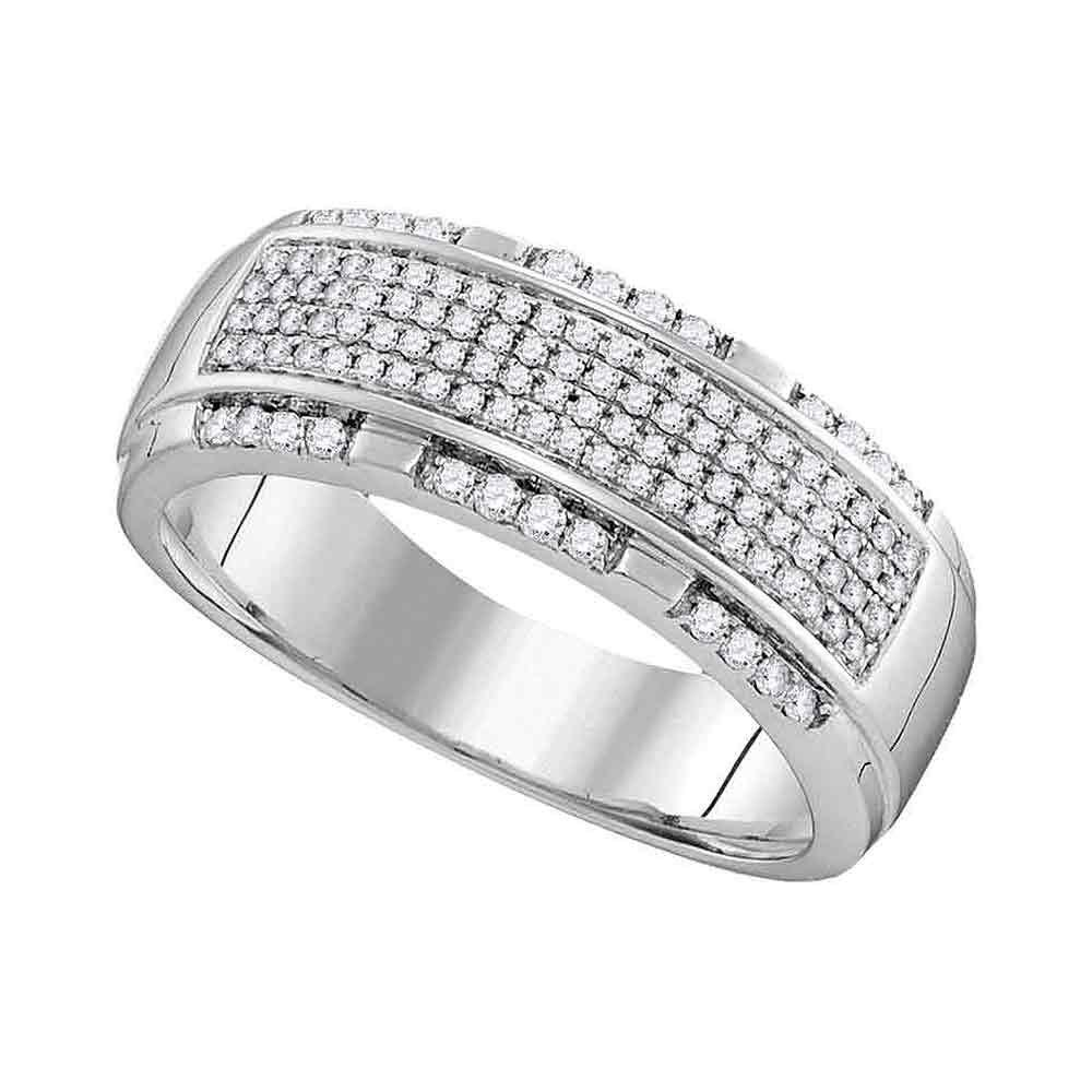 10K White Gold Mens Ring 0.45ctw Diamond