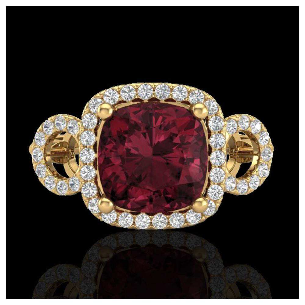 3.75 ctw Garnet & Diamond Ring 18K Yellow Gold