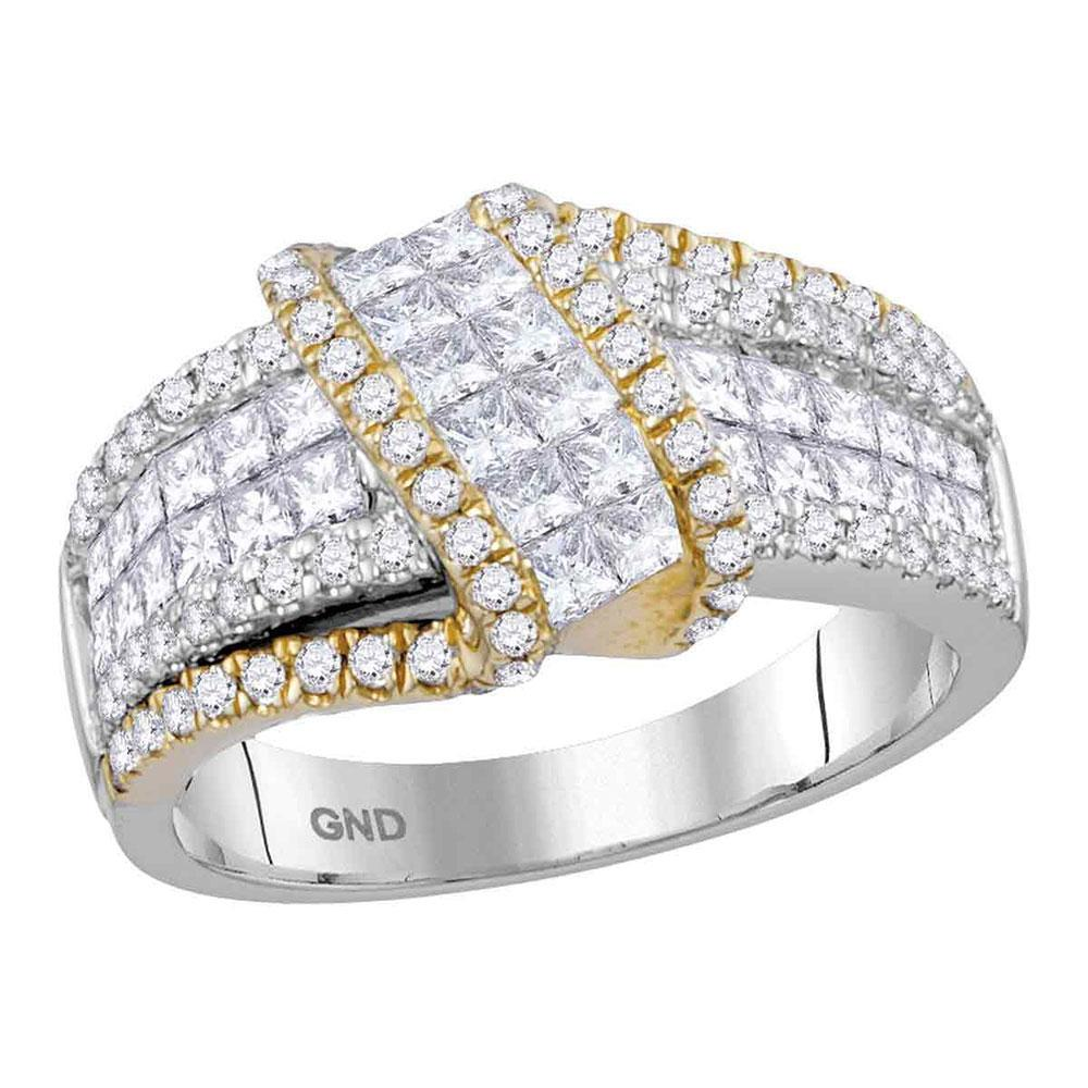 14K 2-tone Gold Ring 1.96ctw Diamond