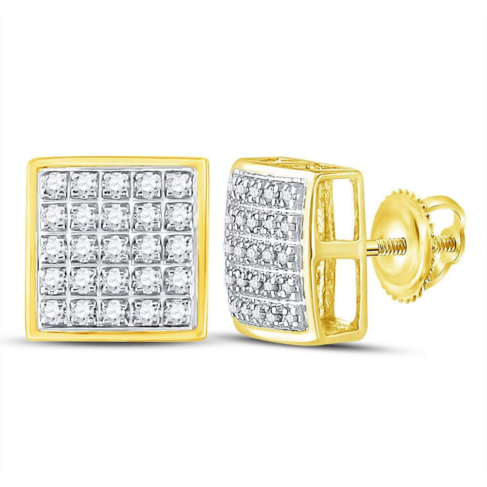 10K Yellow Gold Earrings Square Cluster 0.15ctw Diamond