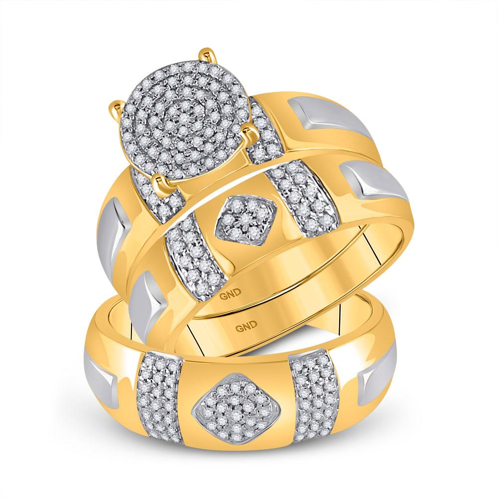10K Yellow Gold Ring Cluster 0.5ctw Diamond