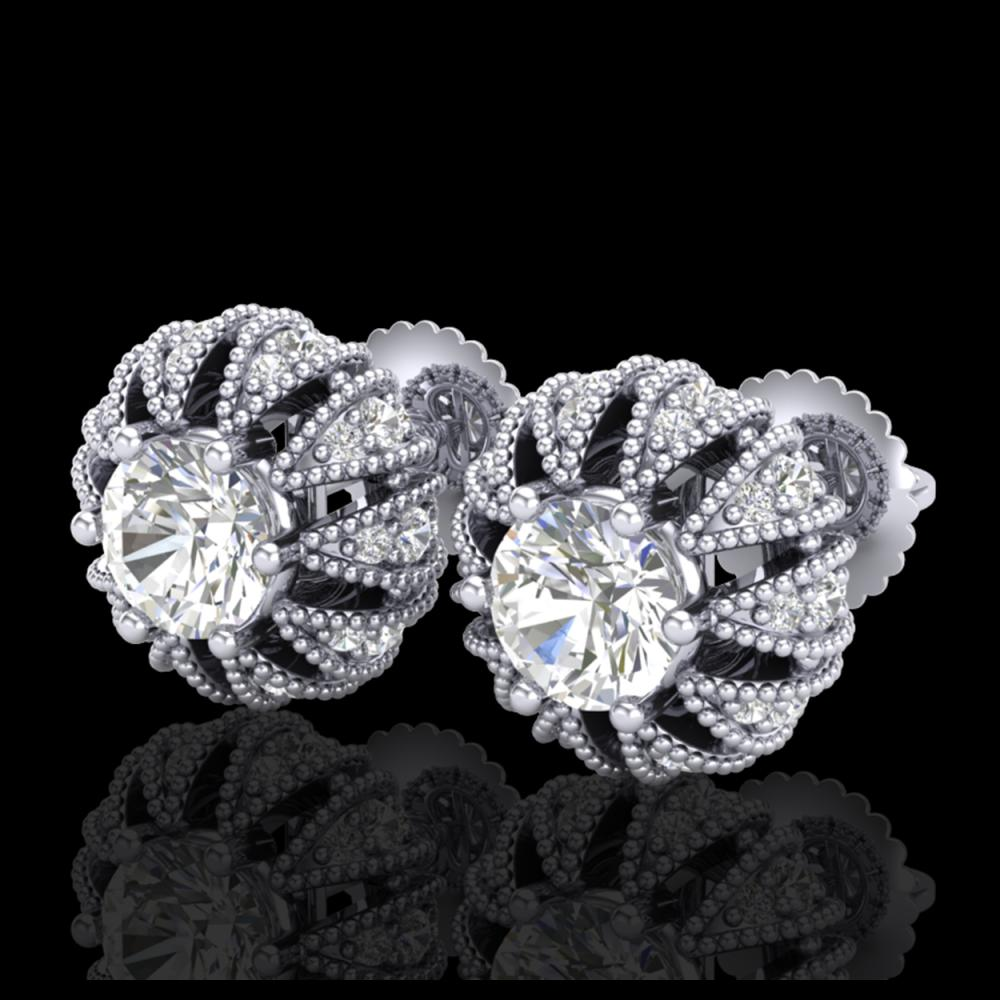 2.01 ctw Diamond Art Deco Stud Earrings 18K White Gold