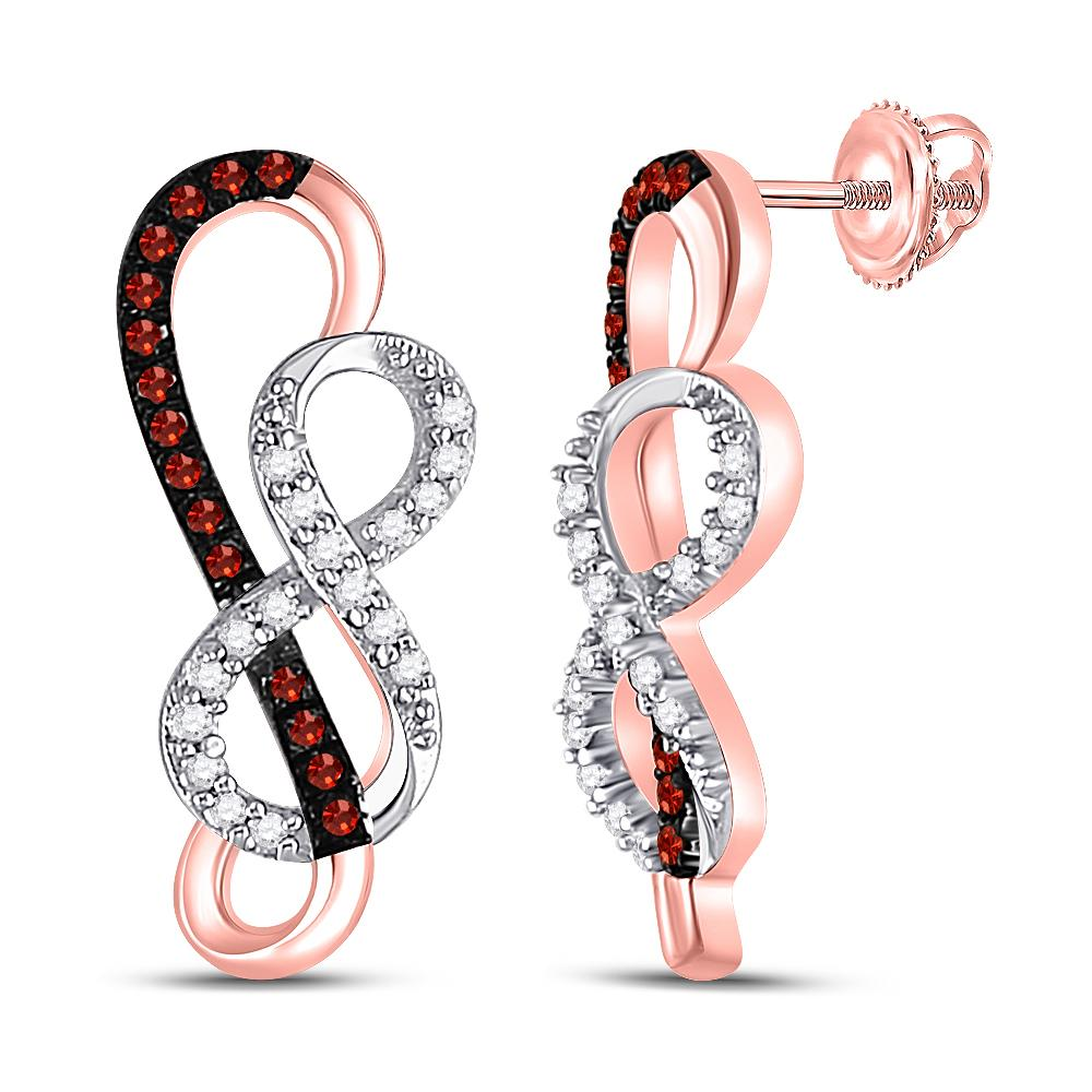10K Rose Gold Earrings Infinity 0.15ctw Colored Red Diamond, Diamond,