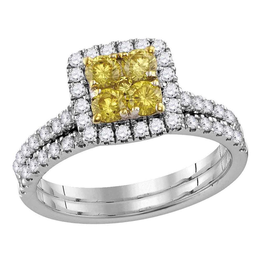 14K White Gold Ring Square Cluster 1.26ctw Natural Diamond Yellow, Diamond,