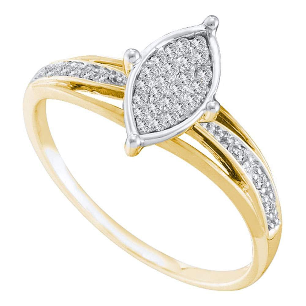 10K Yellow Gold Ring Cluster 0.1ctw Diamond