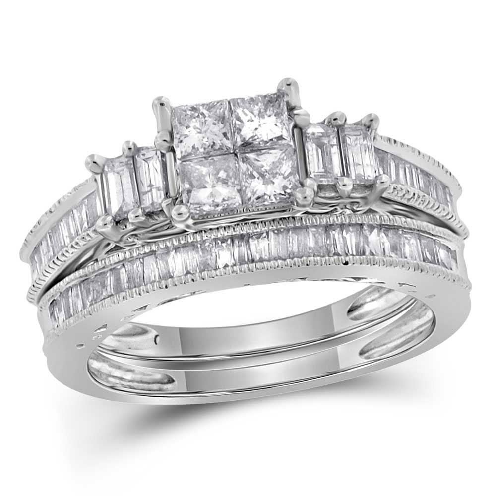 14K White Gold Ring 0.99ctw Diamond