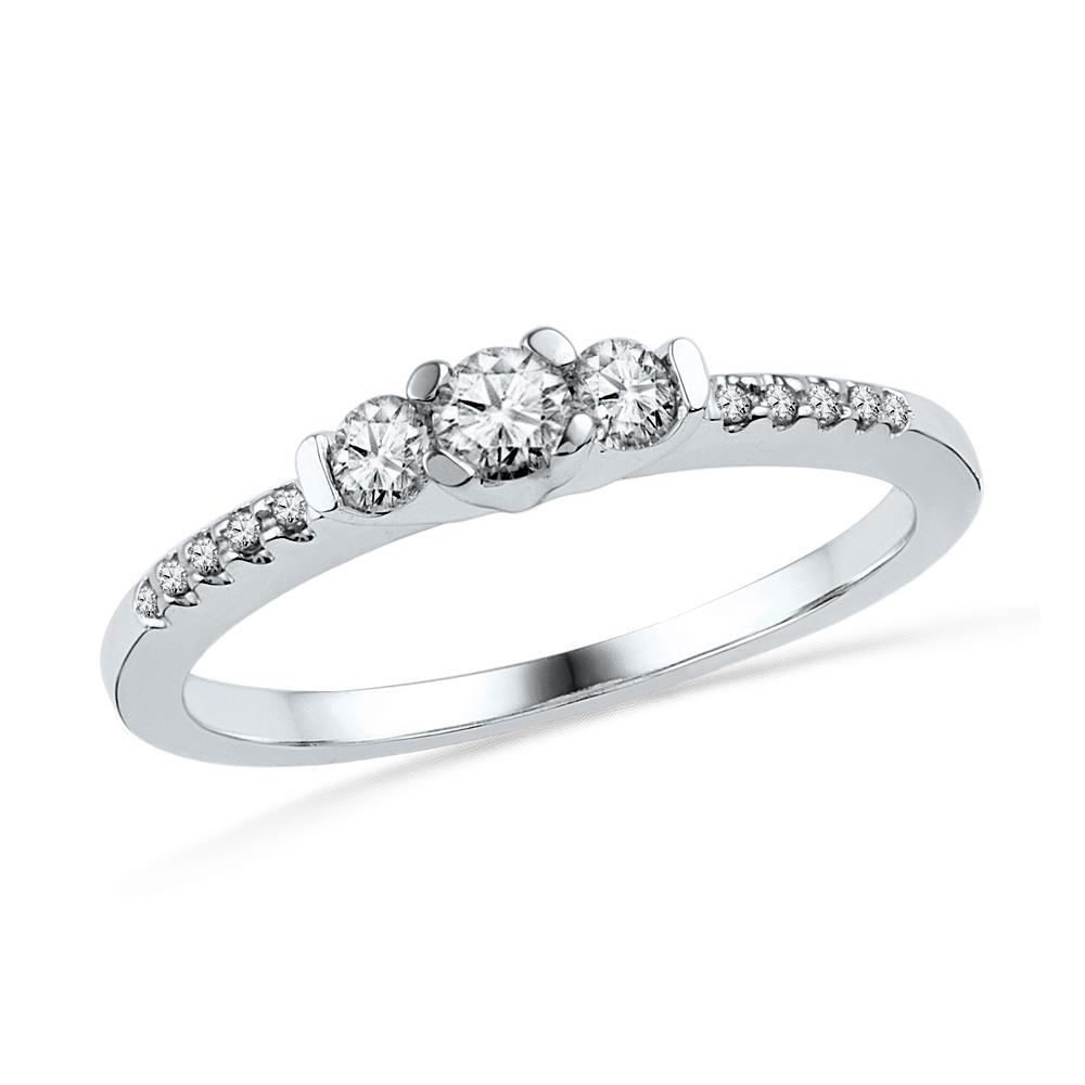10K White Gold Ring 0.33ctw Diamond
