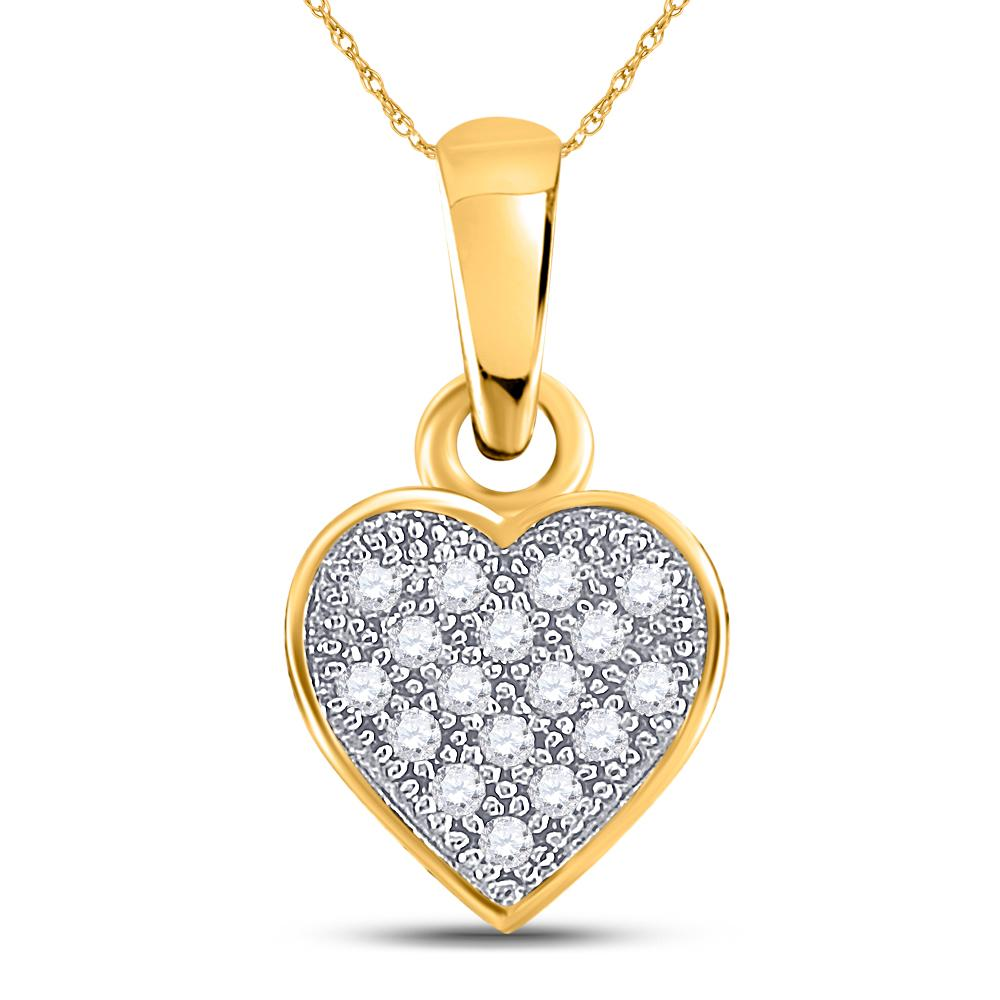 10K Yellow Gold Pendant Cluster Heart 0.05ctw Diamond