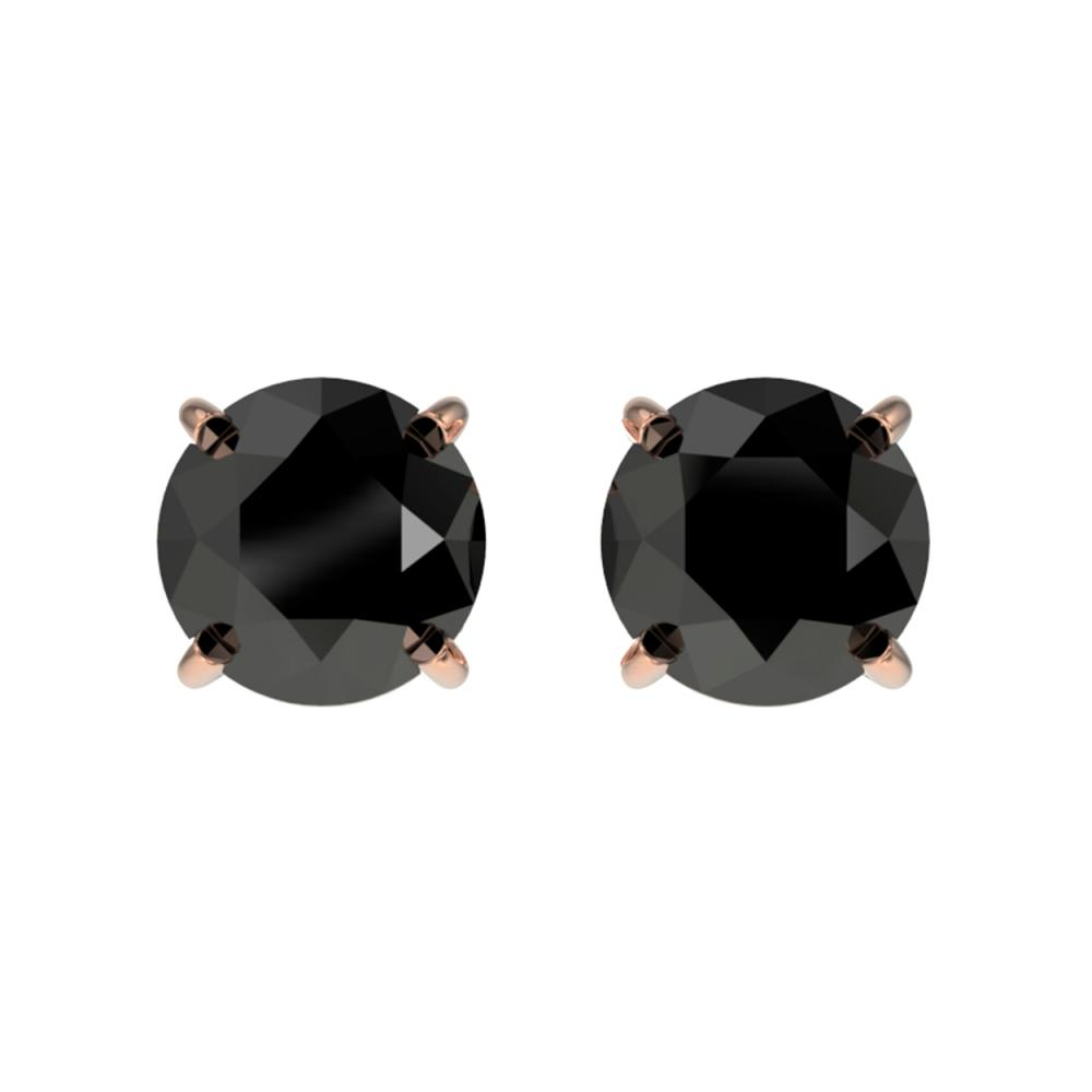 1 ctw Fancy Black Diamond Solitaire Stud Earrings 10K Rose Gold