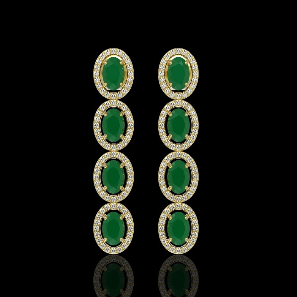 6.47 ctw Emerald & Diamond Halo Earrings 10K Yellow Gold