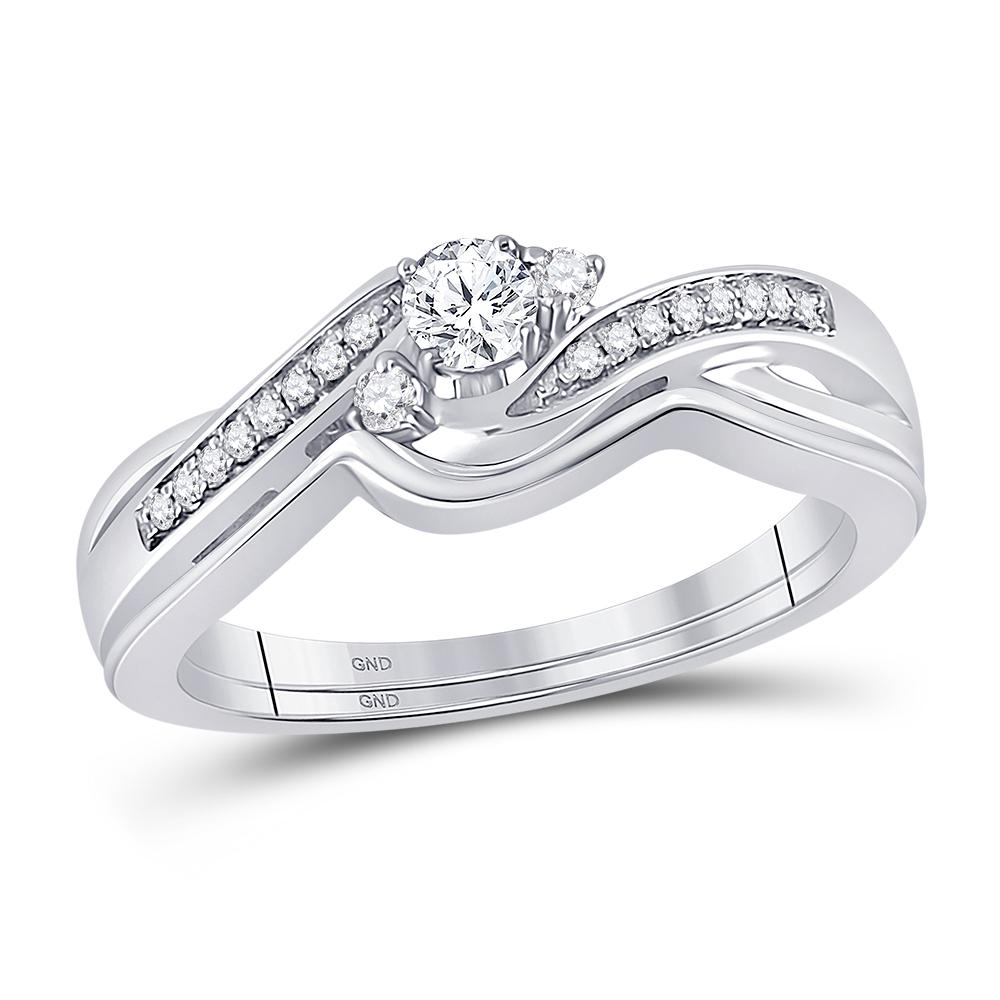 10K White Gold Ring 0.24ctw Diamond