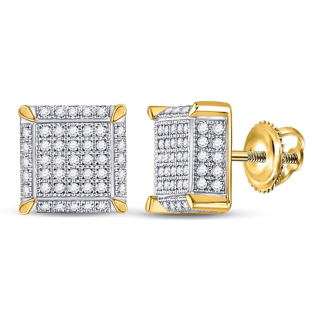 10K Yellow Gold Earrings Square Cluster 0.52ctw Diamond