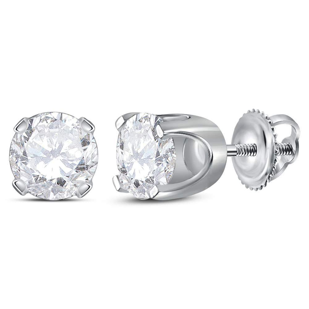 14K White Gold Earrings Solitaire Stud 1.42ctw Diamond