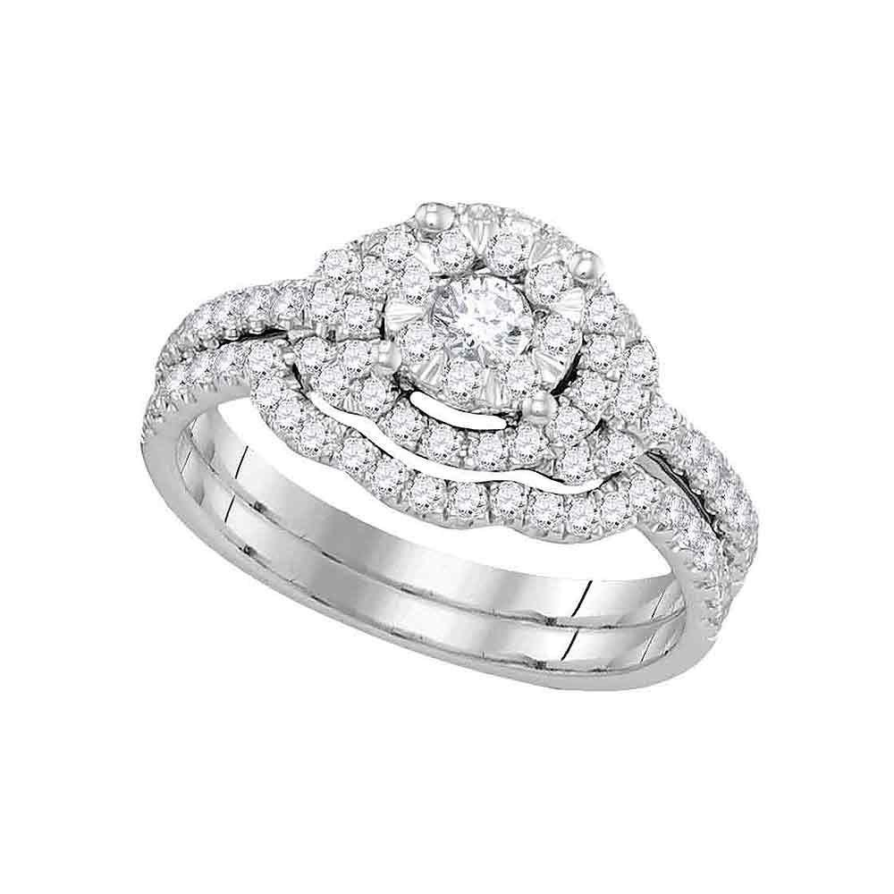 14K White Gold Ring Round 0.63ctw Diamond