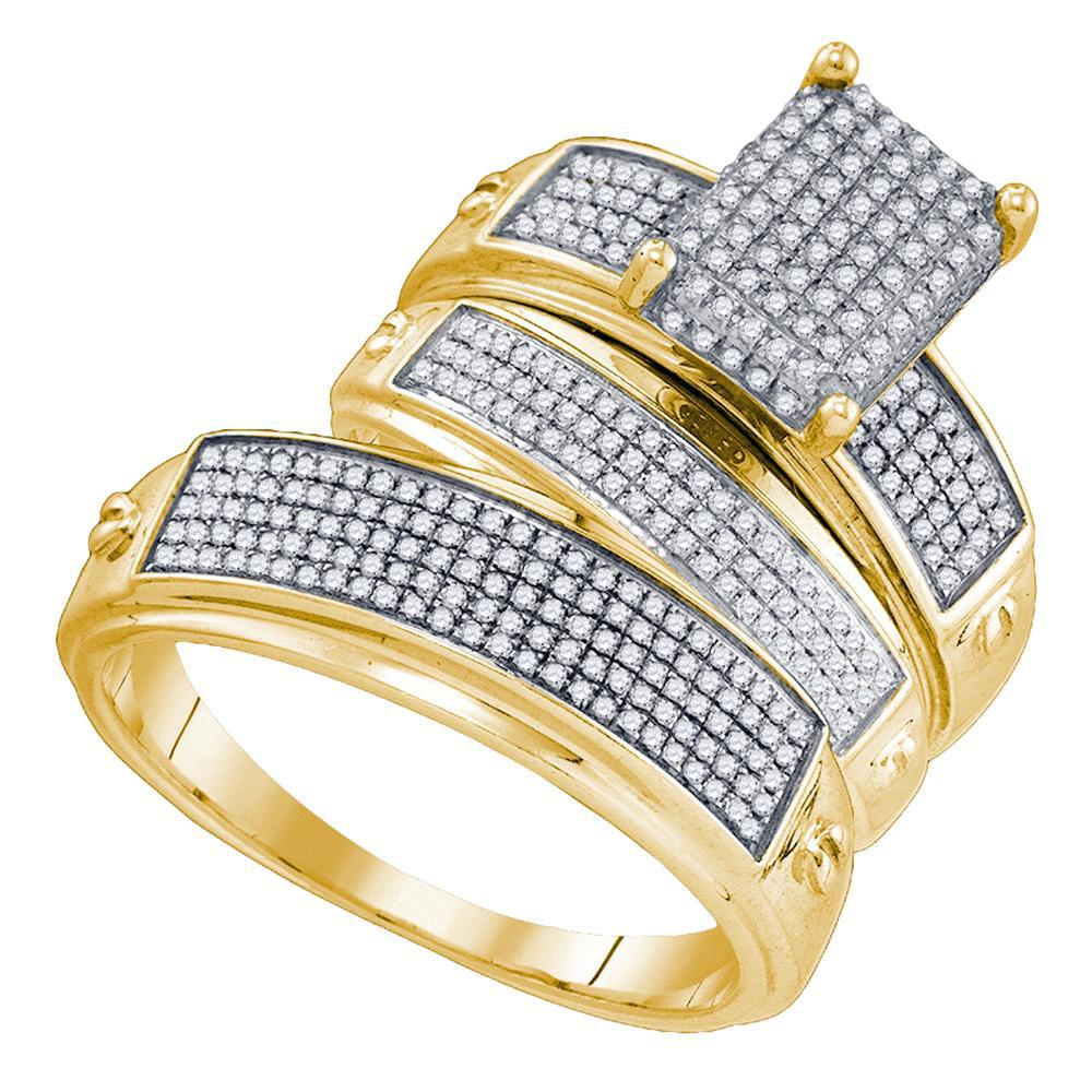 Sterling Silver 3-Ring Set Micro-Pave 0.67ctw Diamond