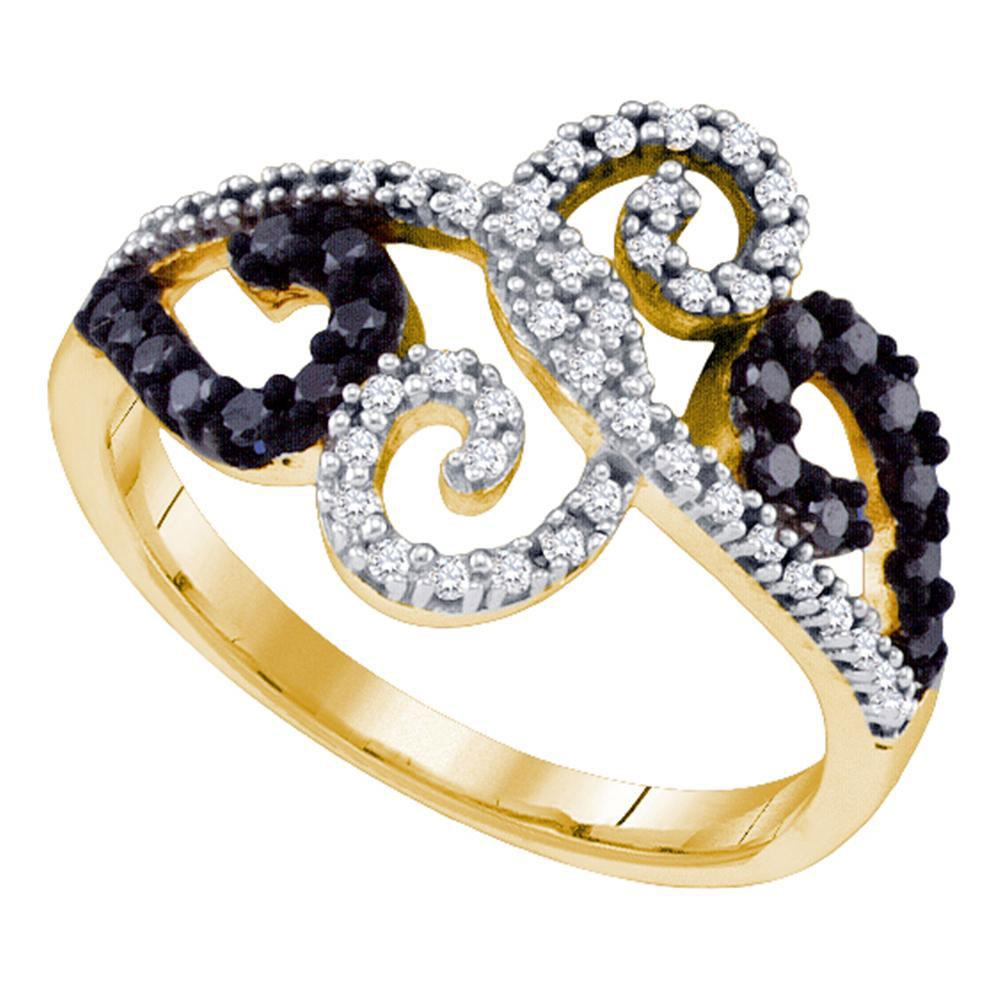 10K Yellow Gold Ring Curl 0.33ctw Colored Black Diamond, Diamond,