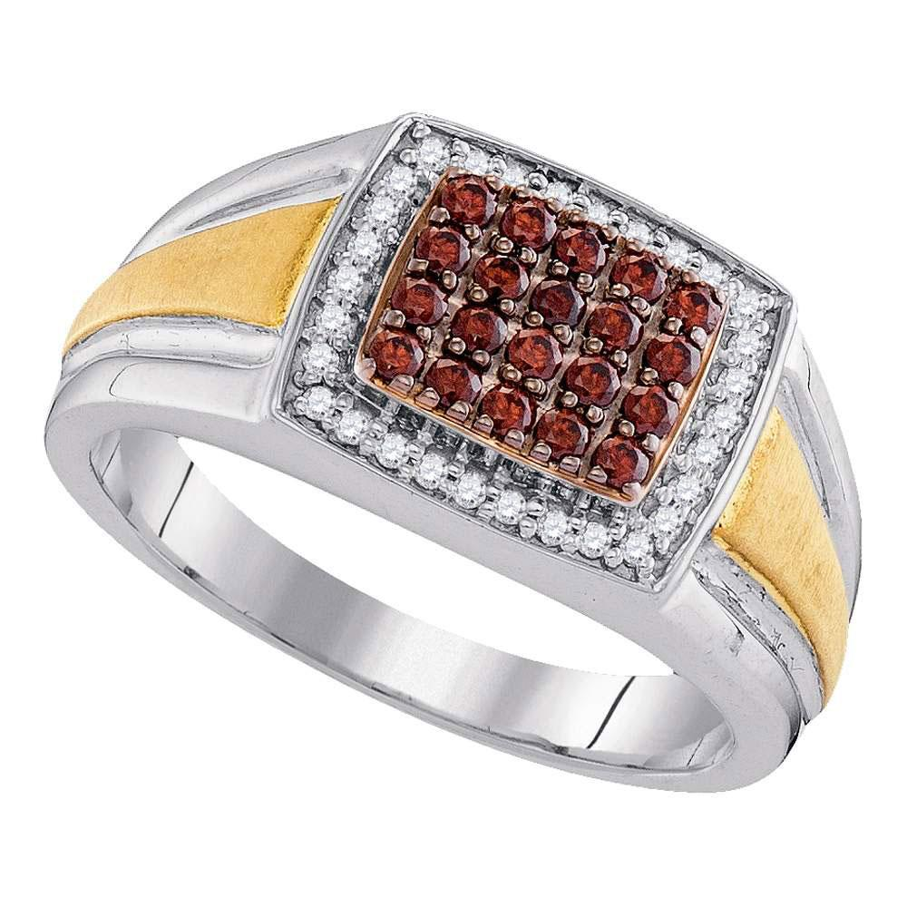10K 2-tone Gold Ring Cluster Cushion 0.5ctw Brown Diamond, Diamond,