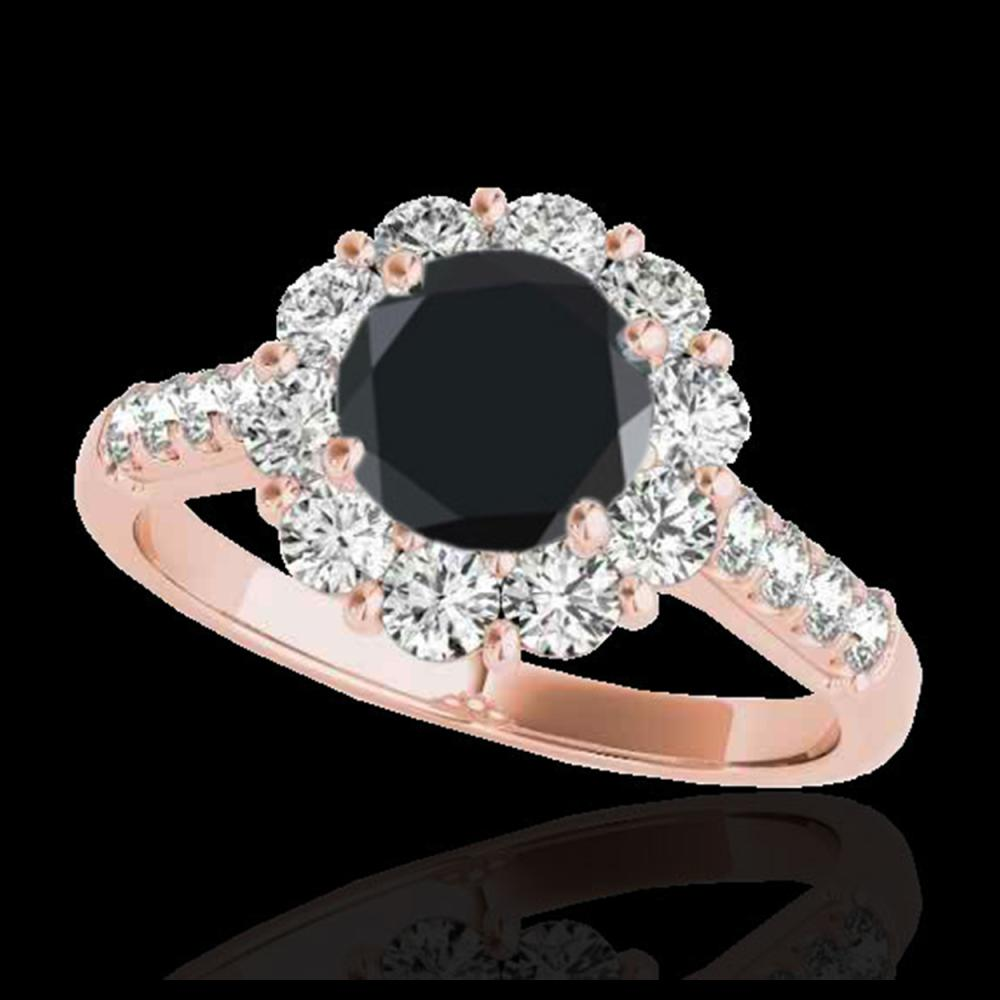 2.75 ctw Black Diamond Solitaire Halo Ring 10K Rose Gold