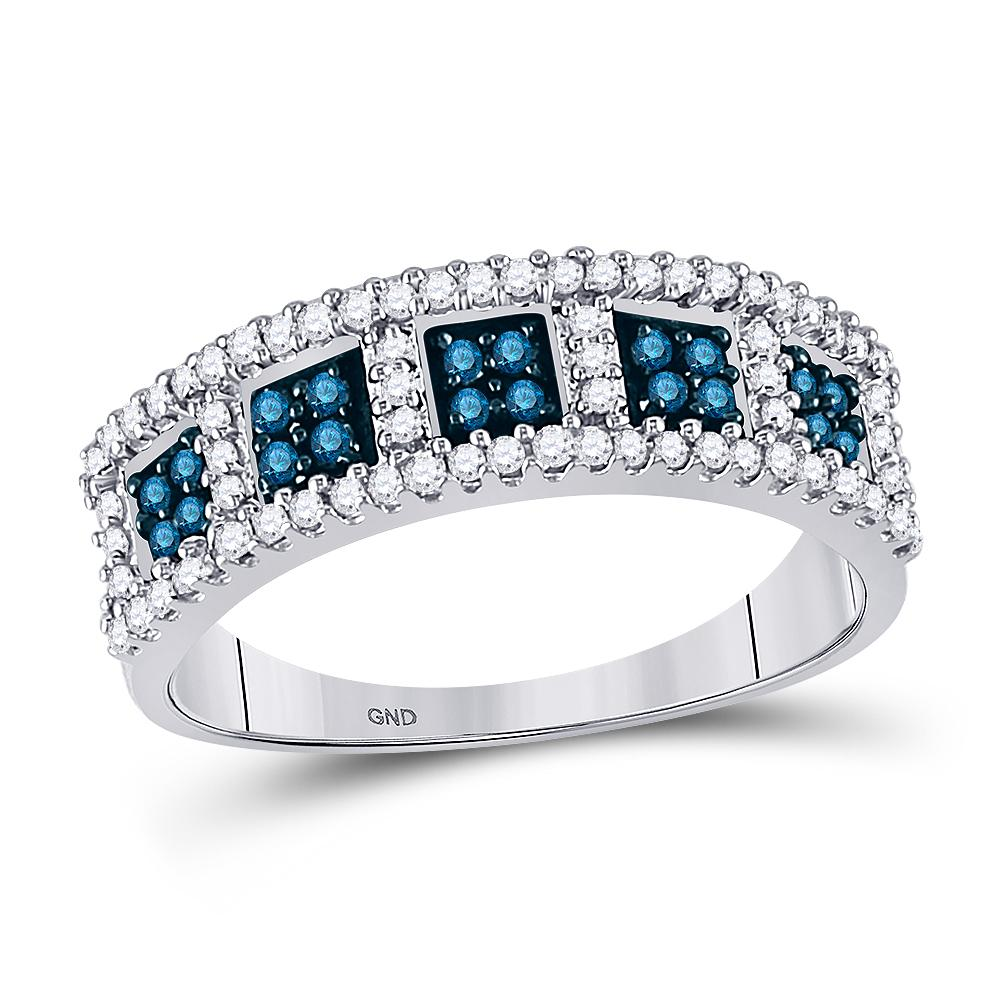 10K White Gold Ring 0.45ctw Colored Blue Diamond, Diamond,
