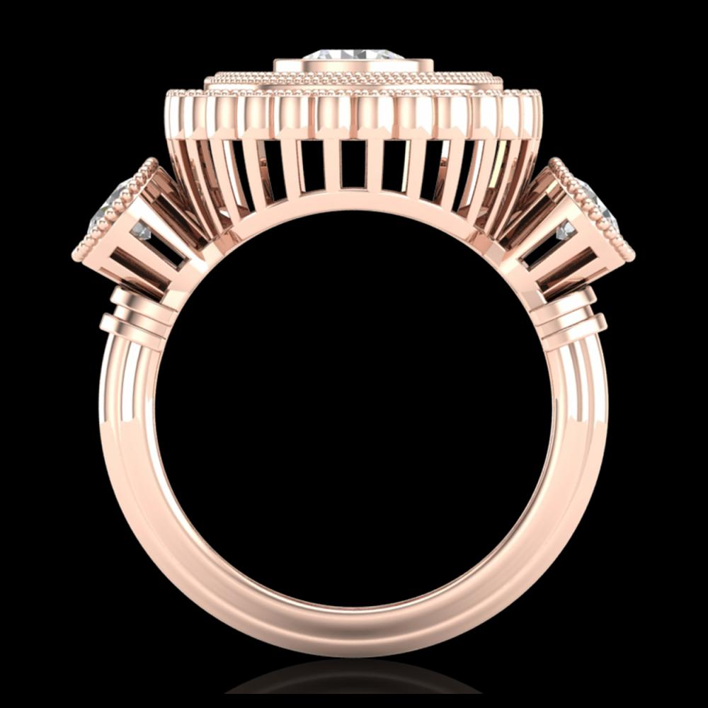 2.62 ctw Diamond Solitaire Art Deco 3 Stone Ring 18K Rose Gold