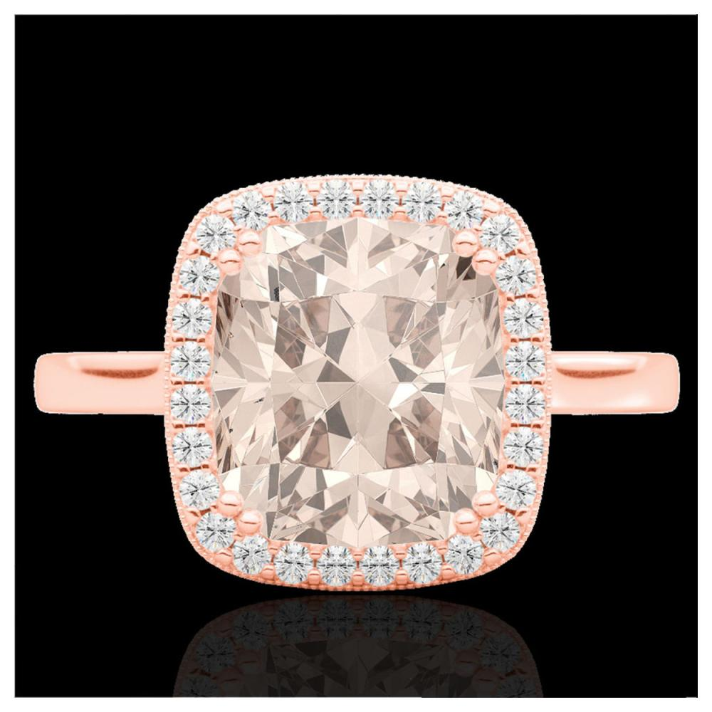 3 ctw Morganite & Diamond Halo Ring 14K Rose Gold