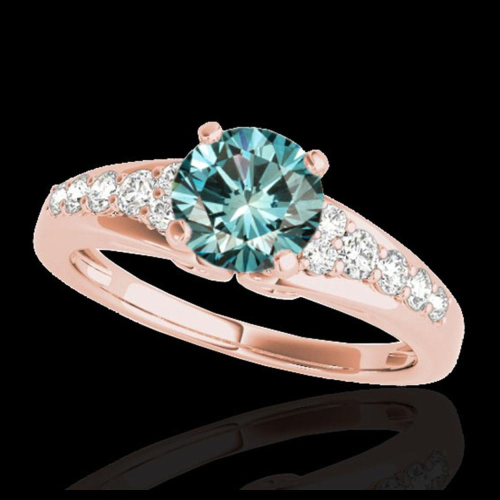 1.40 ctw SI Fancy Blue Diamond Solitaire Ring 10K Rose Gold