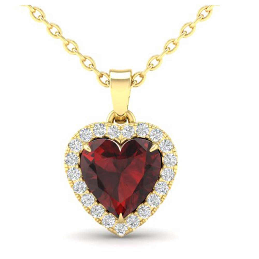 1 ctw Garnet & VS/SI Diamond Heart Necklace 14K Yellow Gold