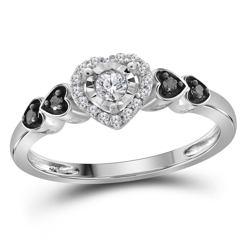 Sterling Silver Ring Solitaire 0.2ctw Diamond, Colored Black Diamond,