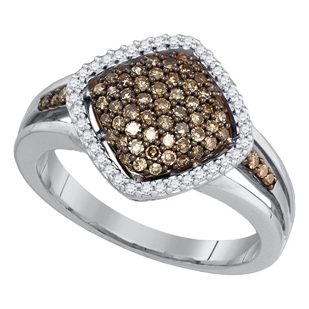 10K White Gold Ring Cluster 0.48ctw Brown Diamond, Diamond,