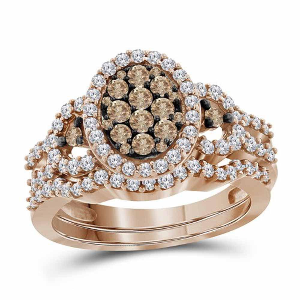 10K Rose Gold Ring 1ctw Brown Diamond, Diamond,