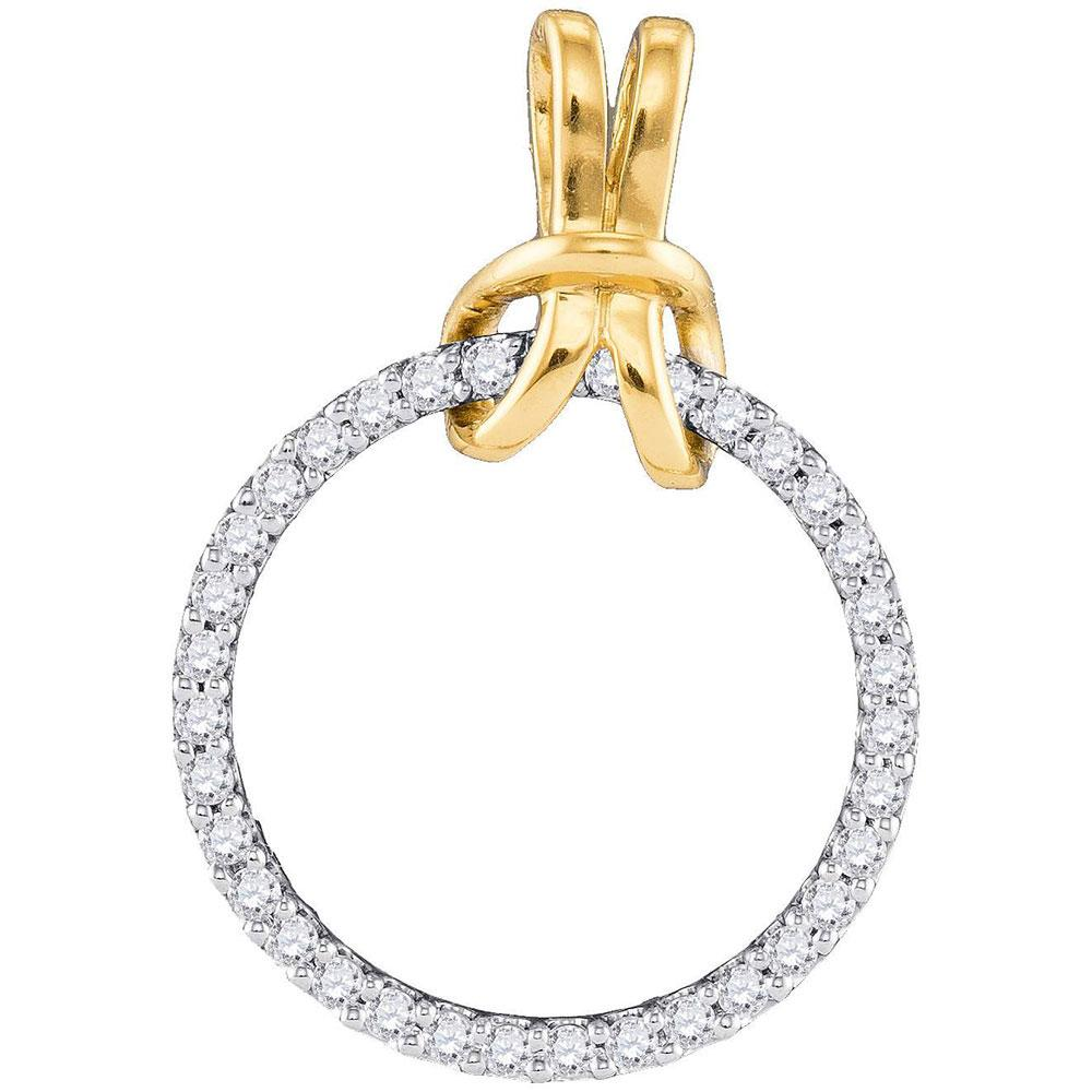 10K 2-tone Gold Pendant Circle 0.33ctw Diamond