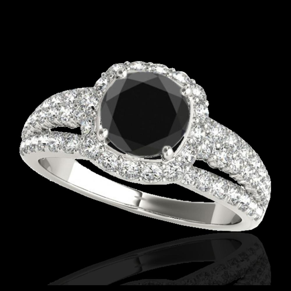 2 ctw Black Diamond Solitaire Halo Ring 10K White Gold