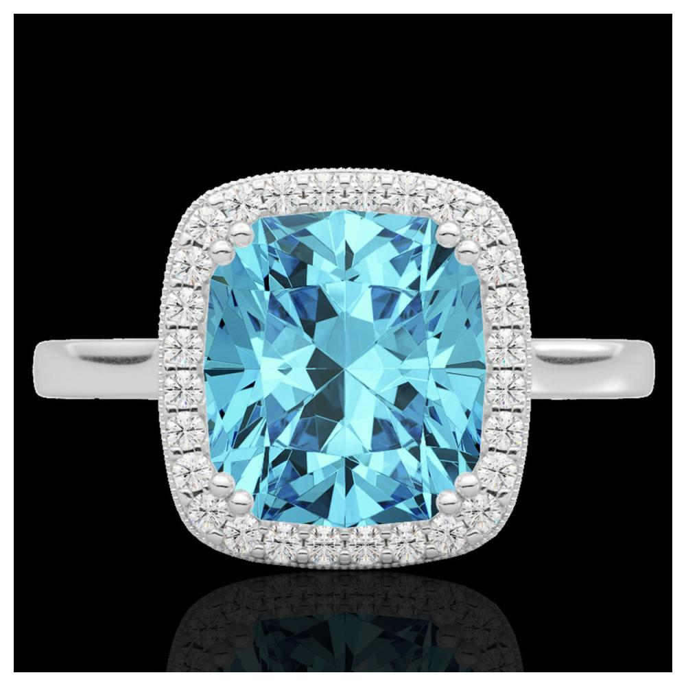 3.50 ctw Sky Blue Topaz & Diamond Halo Ring 18K White Gold