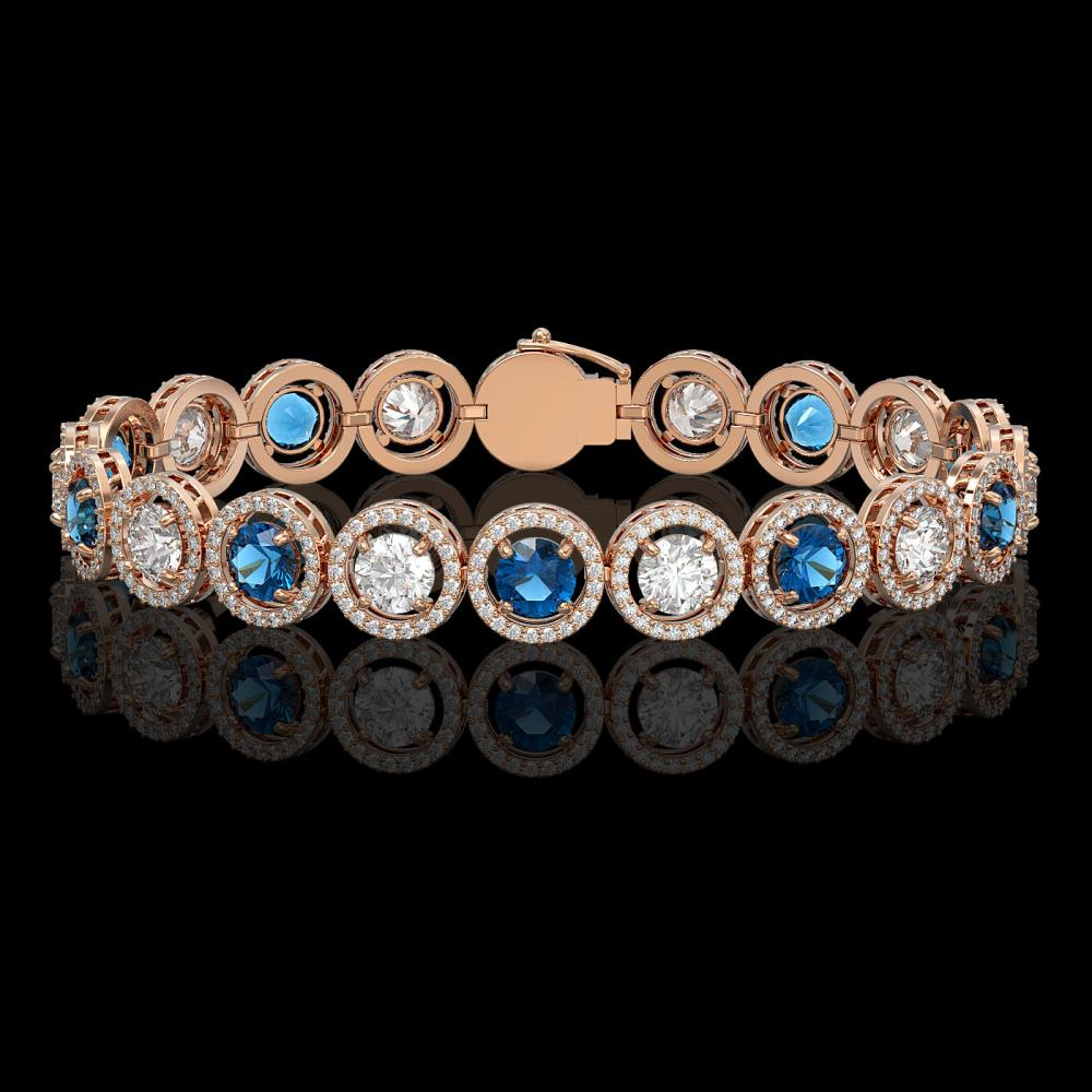 13.56 ctw Blue & Diamond Bracelet 18K Rose Gold