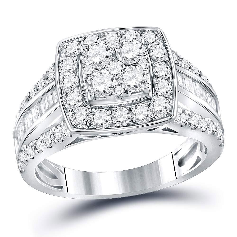 14K White Gold Ring 1.75ctw Diamond